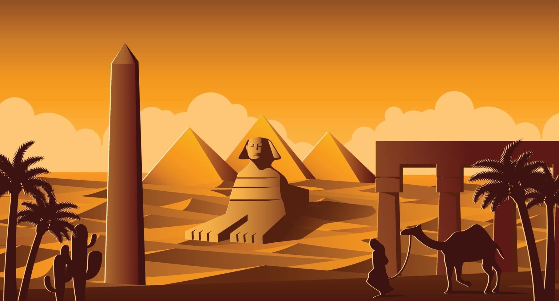 Sphinx und Pyramide berühmte Wahrzeichen Ägyptens vektor