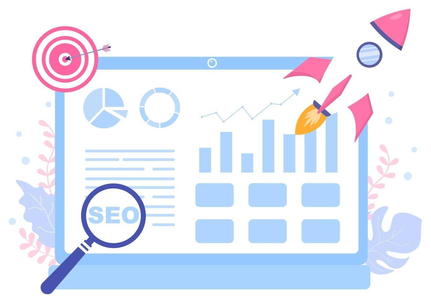seo optimering vektorillustration för sökmotor, apputveckling, webbsidor och bokmärken. målsida eller bannermall vektor