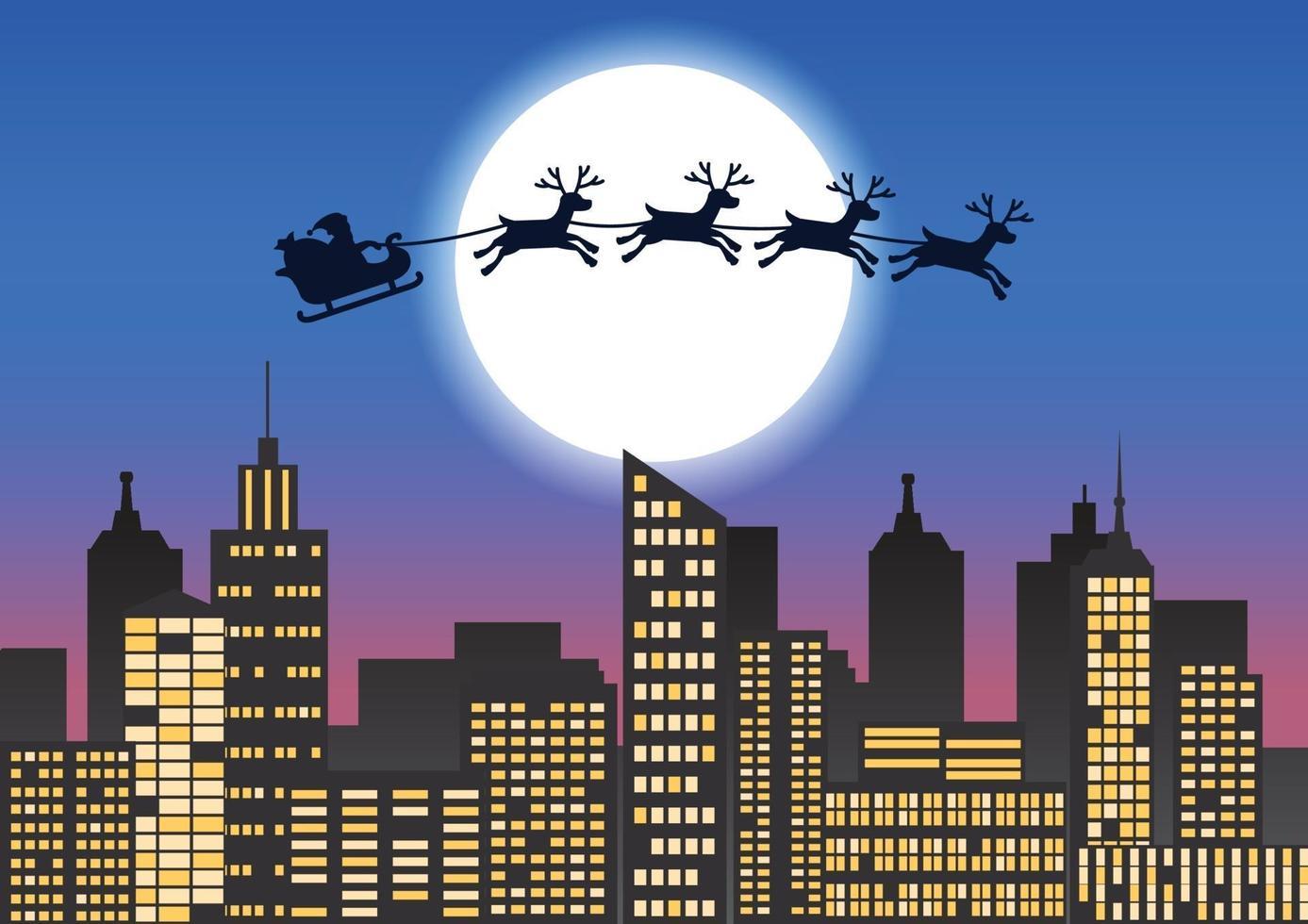 jultomten och renar flyger över staden vektor