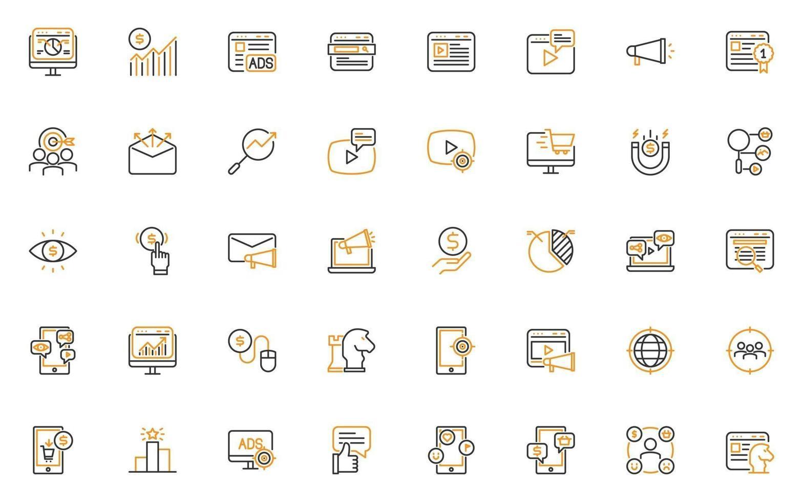 uppsättning online marknadsföring tunn linje ikoner vektor