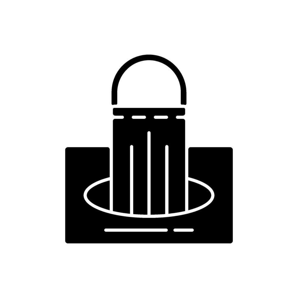 masker i rutan svart glyph-ikon vektor