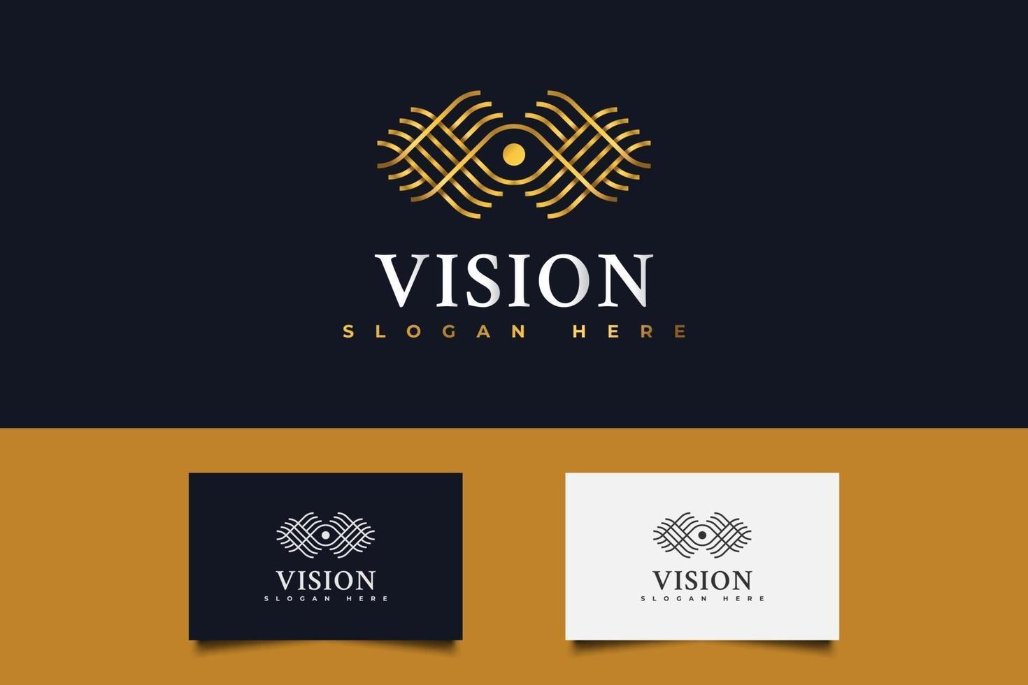 gyllene ögon vision logotyp. ett öga logotyp i linjärt koncept vektor