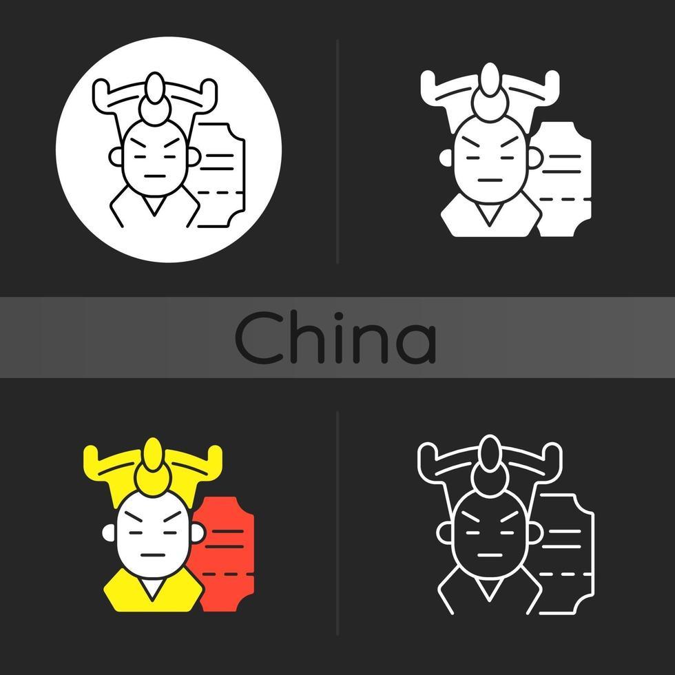 kinesisk opera mörk tema ikon vektor