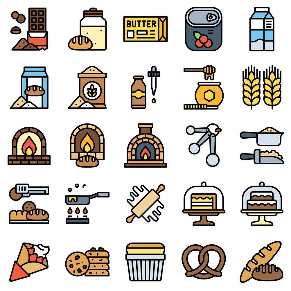 bageri och bakerelaterad fylld ikonuppsättning 3 vektor