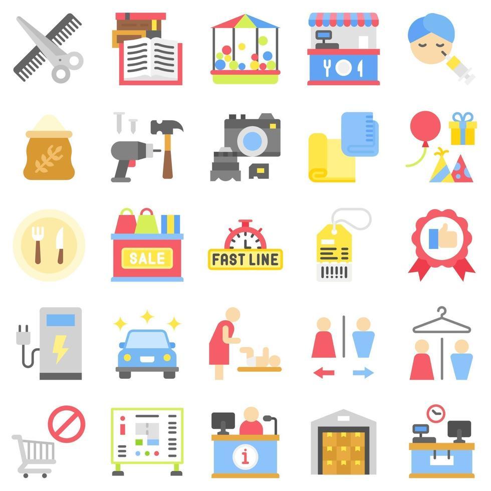 stormarknad och köpcentrum relaterad ikonuppsättning 6, platt stil vektor