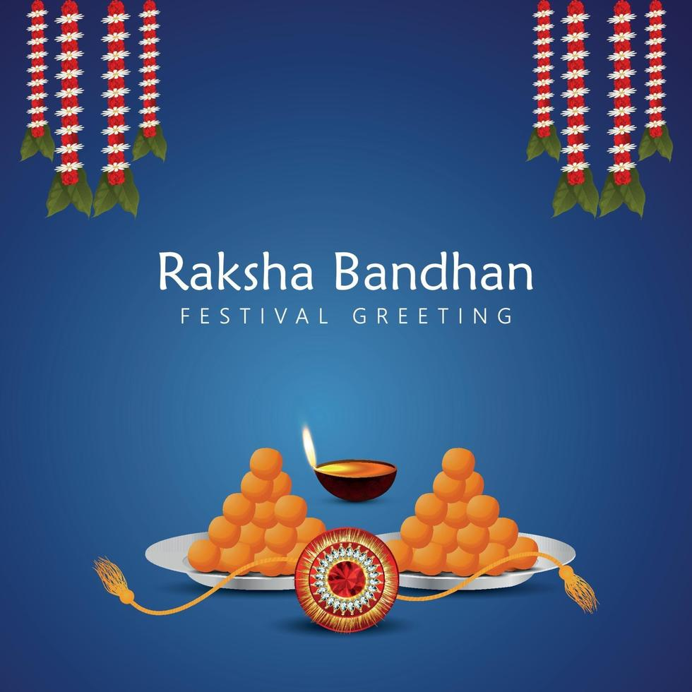 Raksha Bandhan Feier Grußkarte mit Süßigkeiten und Kristall Rakhi vektor