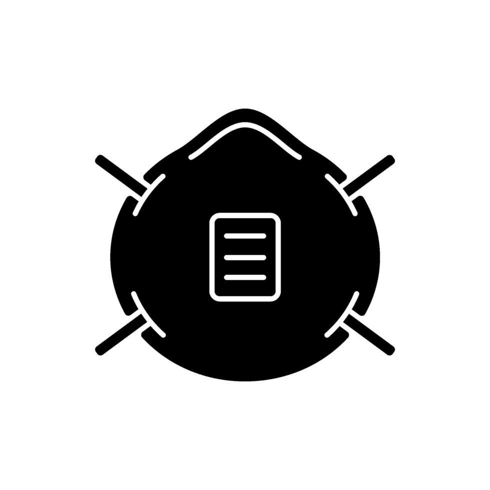 n 95 mask svart glyph ikon vektor