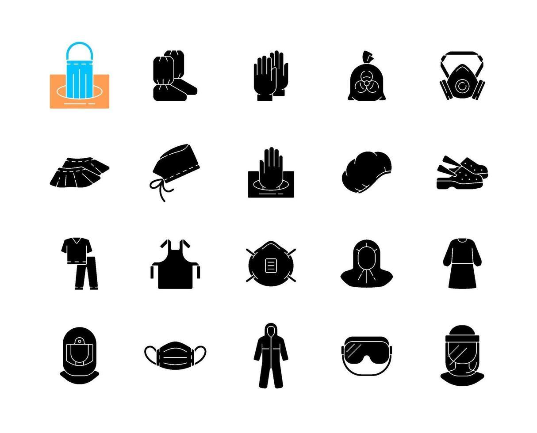 medicinska ppe svarta glyph ikoner som på vitt utrymme vektor