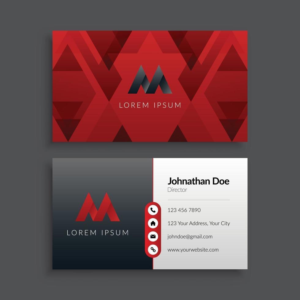 abstrakt geometrisk röd och svart visitkortsmall vektor