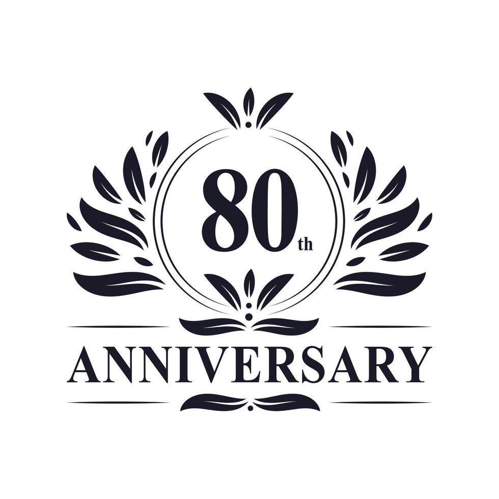 80-årsjubileum, lyxig 80-årsjubileumsdesign. vektor