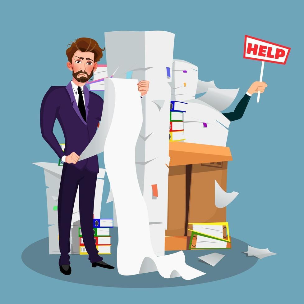 affärsman i hög med kontorspapper och dokument med hjälpskylt. överansträngning. tecknad stil. vektor