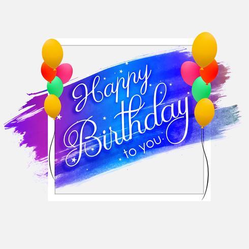 Födelsedagskort färgrik bakgrund med handdragen vattenfärg str vektor