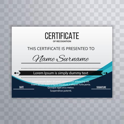 Modernt certifikat mall våg design bakgrund vektor