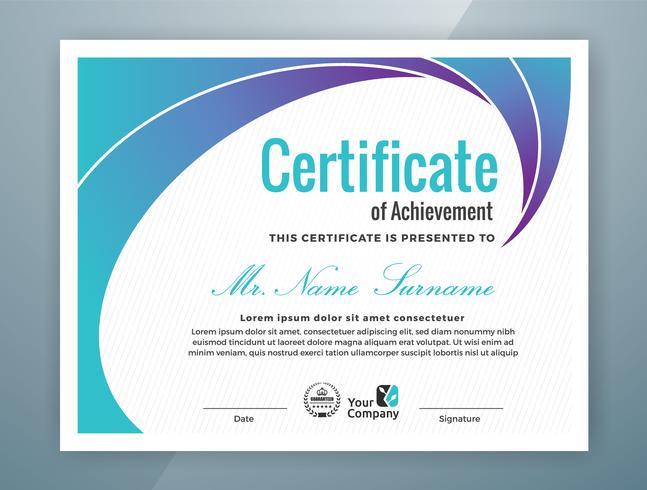 multifunktionellt professionellt certifikat mall design vektor