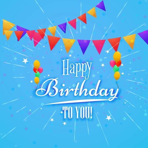 Grattis på födelsedagen kort dekorativa bakgrund vektor