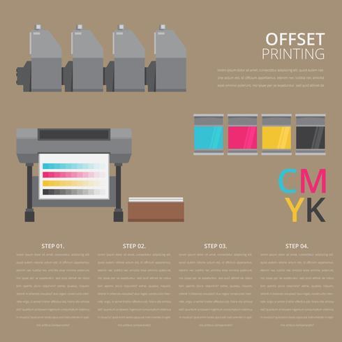 Toner-Drucker mit Tintenpatronen-Illustration vektor