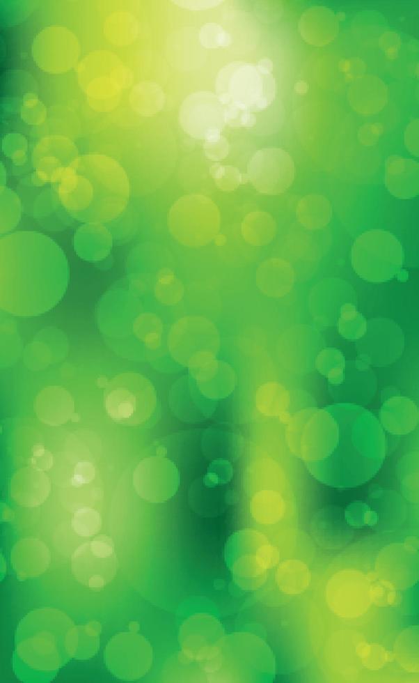 mehrfarbiges verschwommenes Bokeh auf grünem Hintergrund vektor