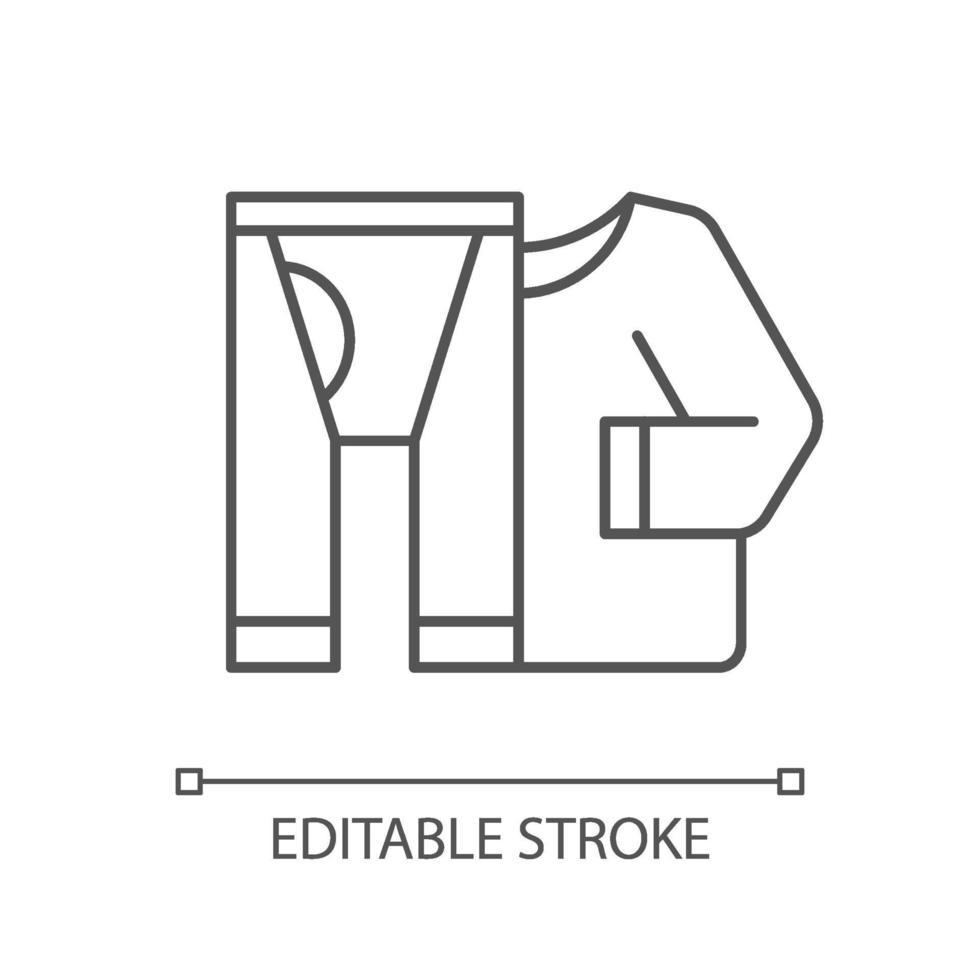 termisk underkläder linjär ikon vektor
