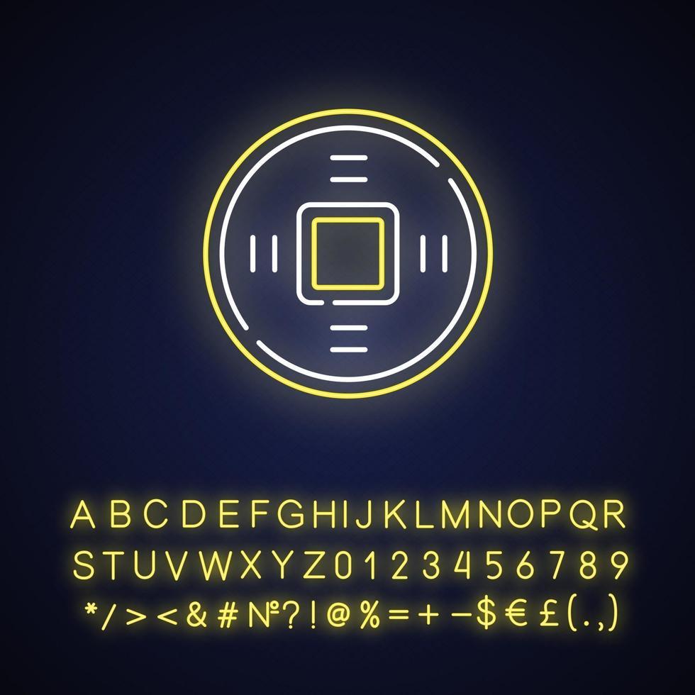 alte chinesische Münzen Neonlichtikone vektor
