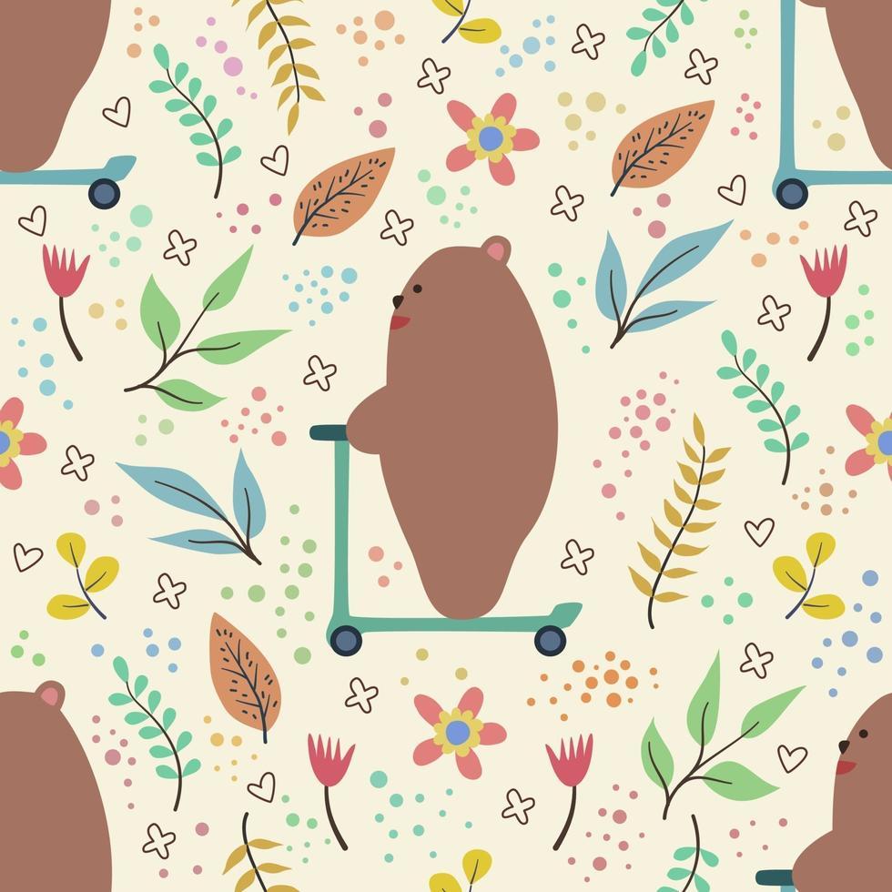 nahtloses Muster über niedlichen Bären, der Roller reitet vektor