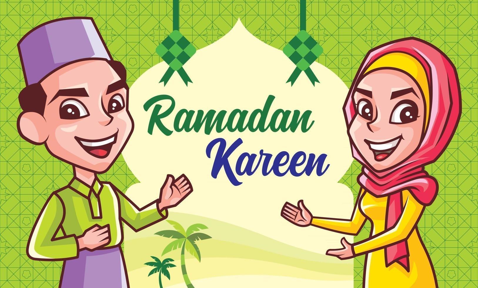 muslimische Gebete, die Hari Raya Aidilfitri mit islamischer Dekoration feiern vektor