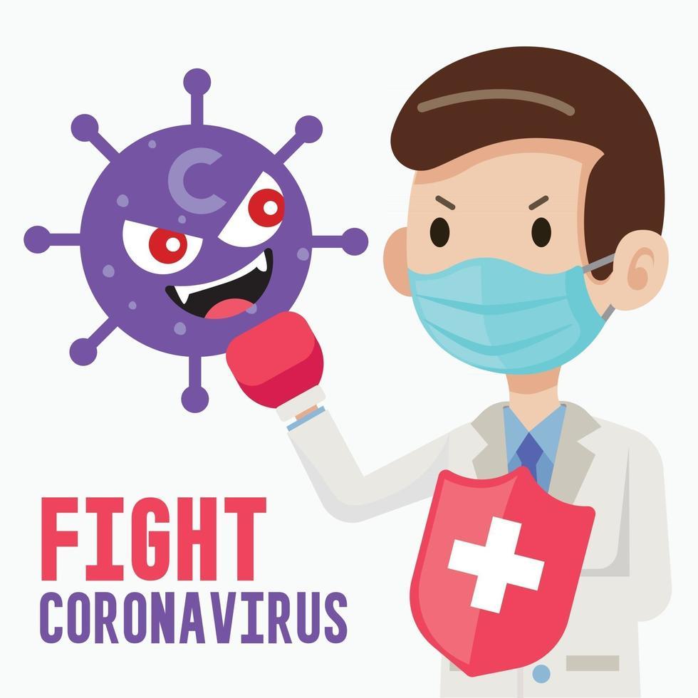 Arzt trägt eine chirurgische Schutzmaske und hält einen Schild, um gegen den Charakter des Cartoon-Virus zu kämpfen vektor