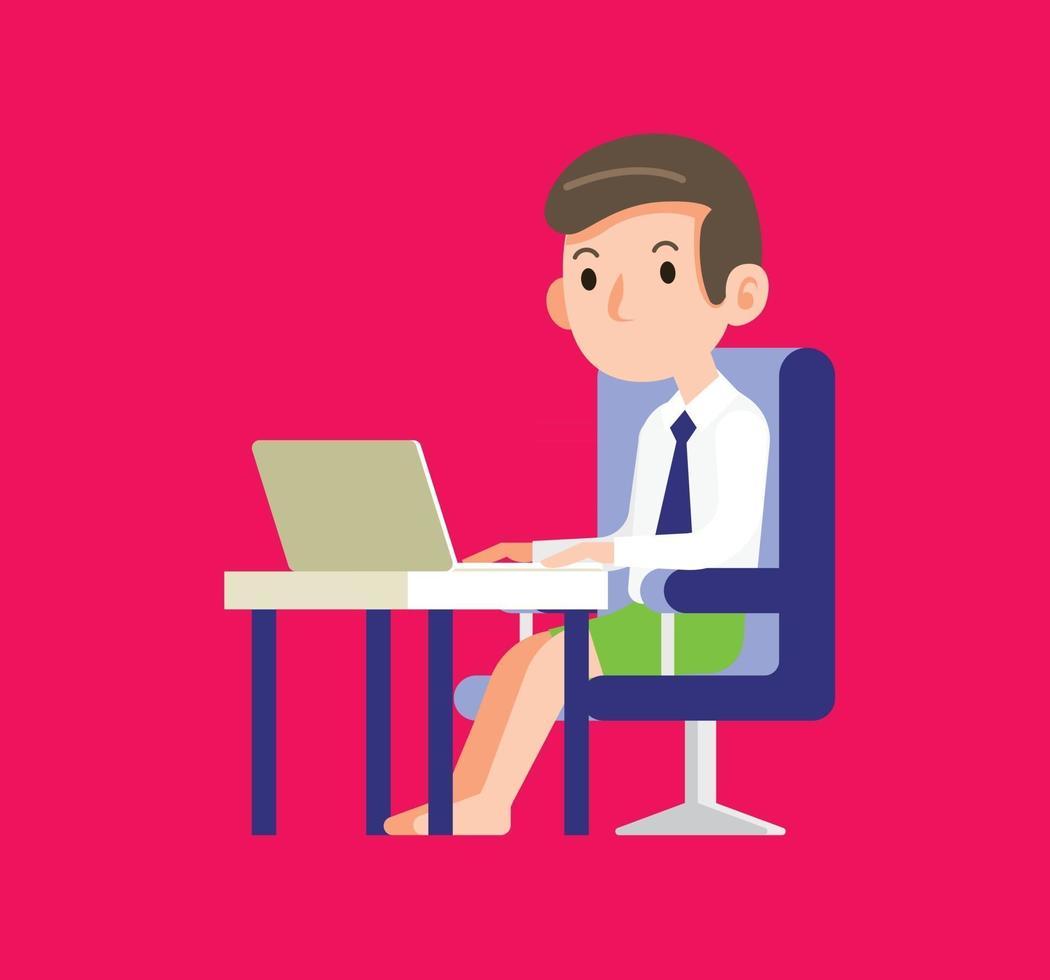 Treffen eines jungen Geschäftsmannes mit der Verwendung eines Laptops für die Arbeit von zu Hause in der neuen Normalität vektor