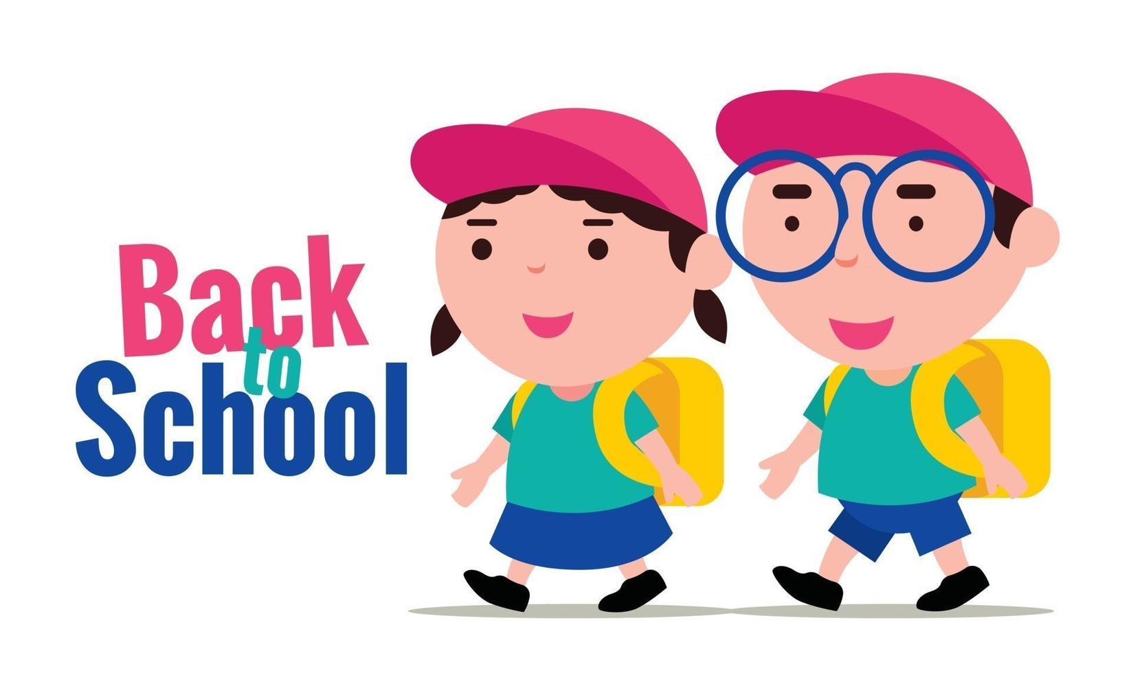 Jungen und Mädchen tragen Schuluniformen und gehen glücklich zurück in die Schule vektor