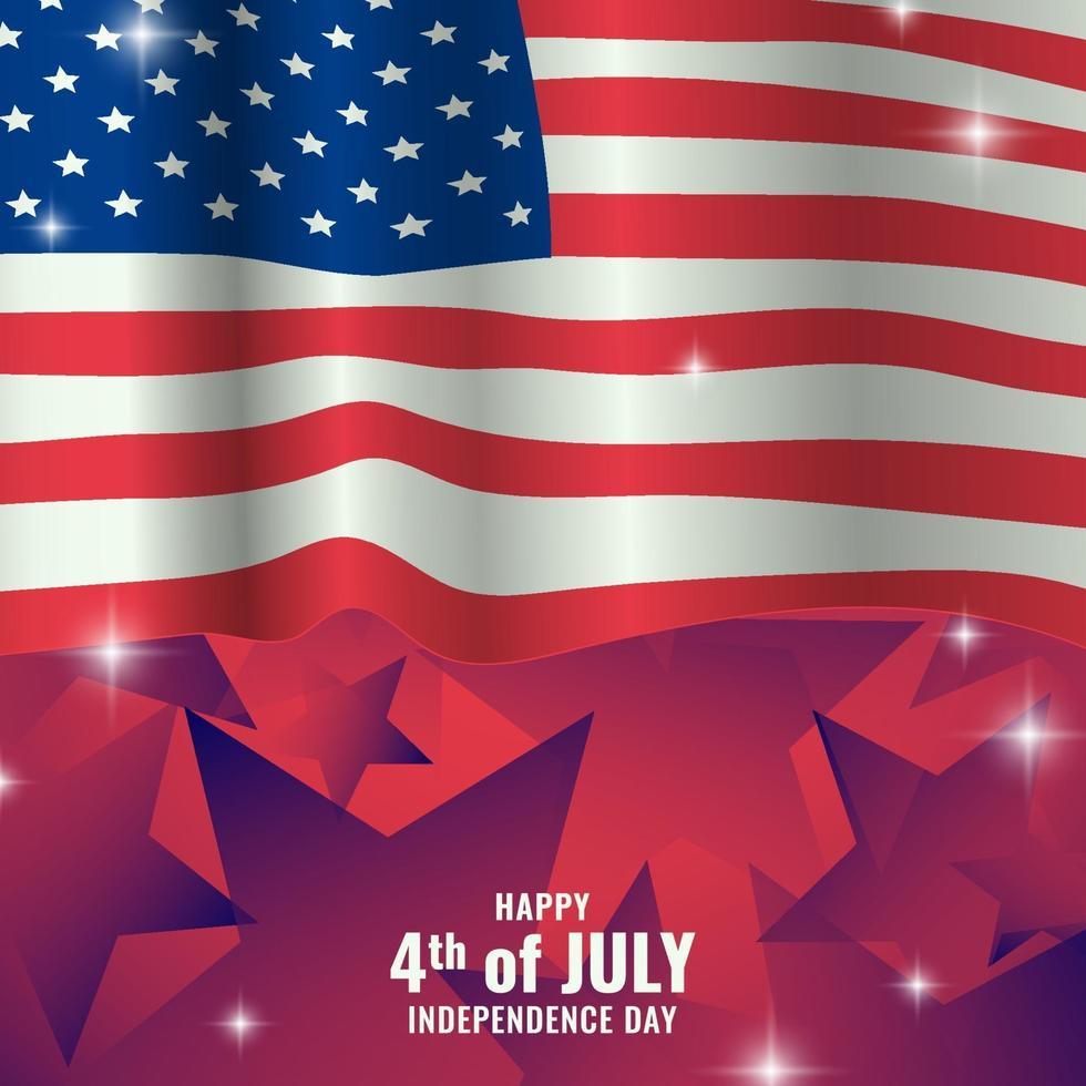 wehende Flagge von USA mit Sternenhintergrund vektor