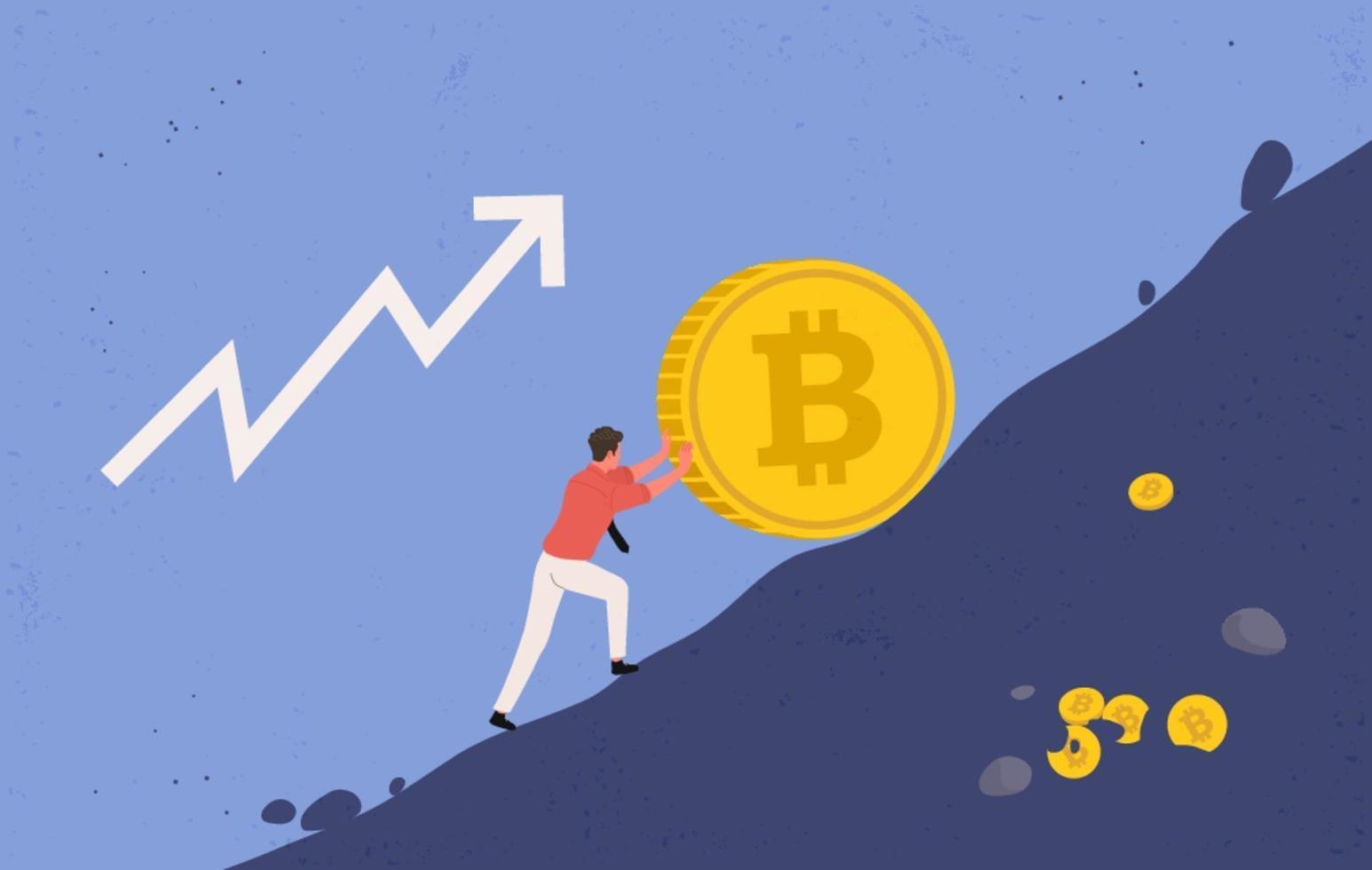 Bergmann, der versucht, große Bitcoin-Münzen vor dem Herunterfallen zu bewahren vektor