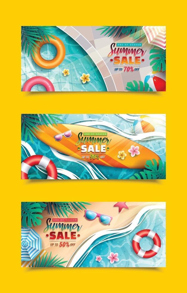 Sommer Sale Banner Vorlagen vektor