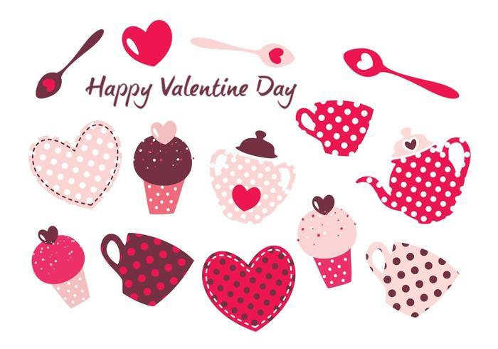Alla hjärtans dag sötsaker vektorpaket vektor