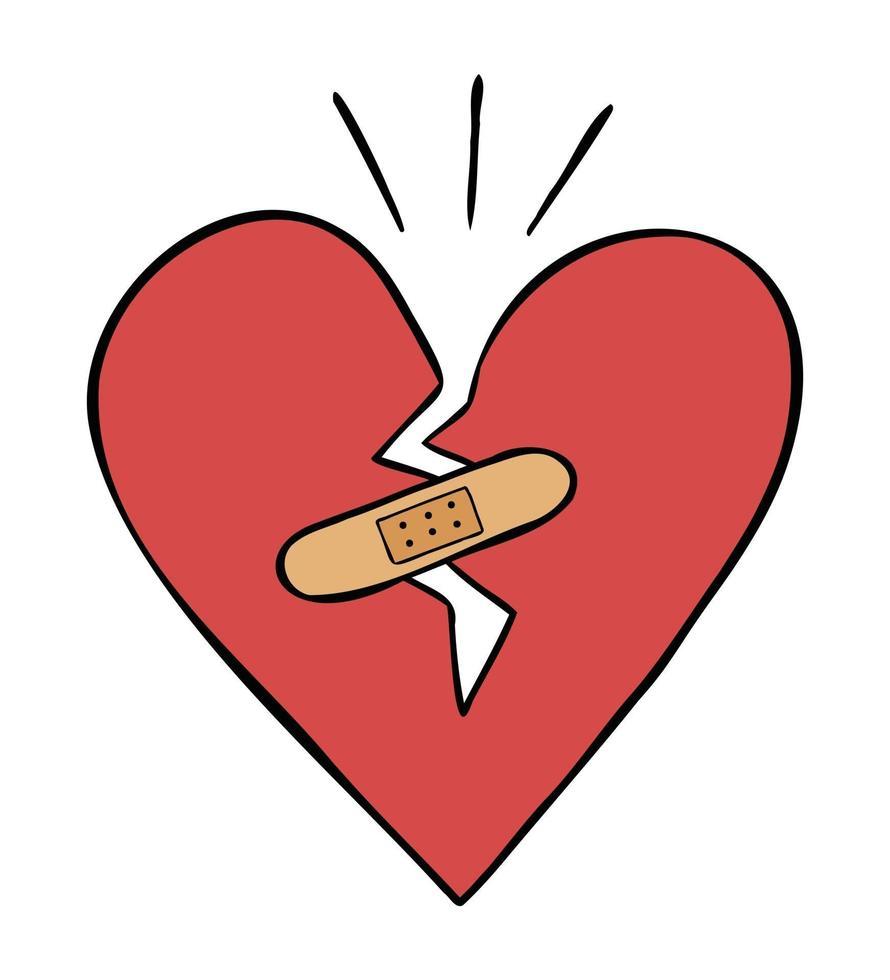 Karikaturvektorillustration des gebrochenen Herzens und des Verbandes vektor