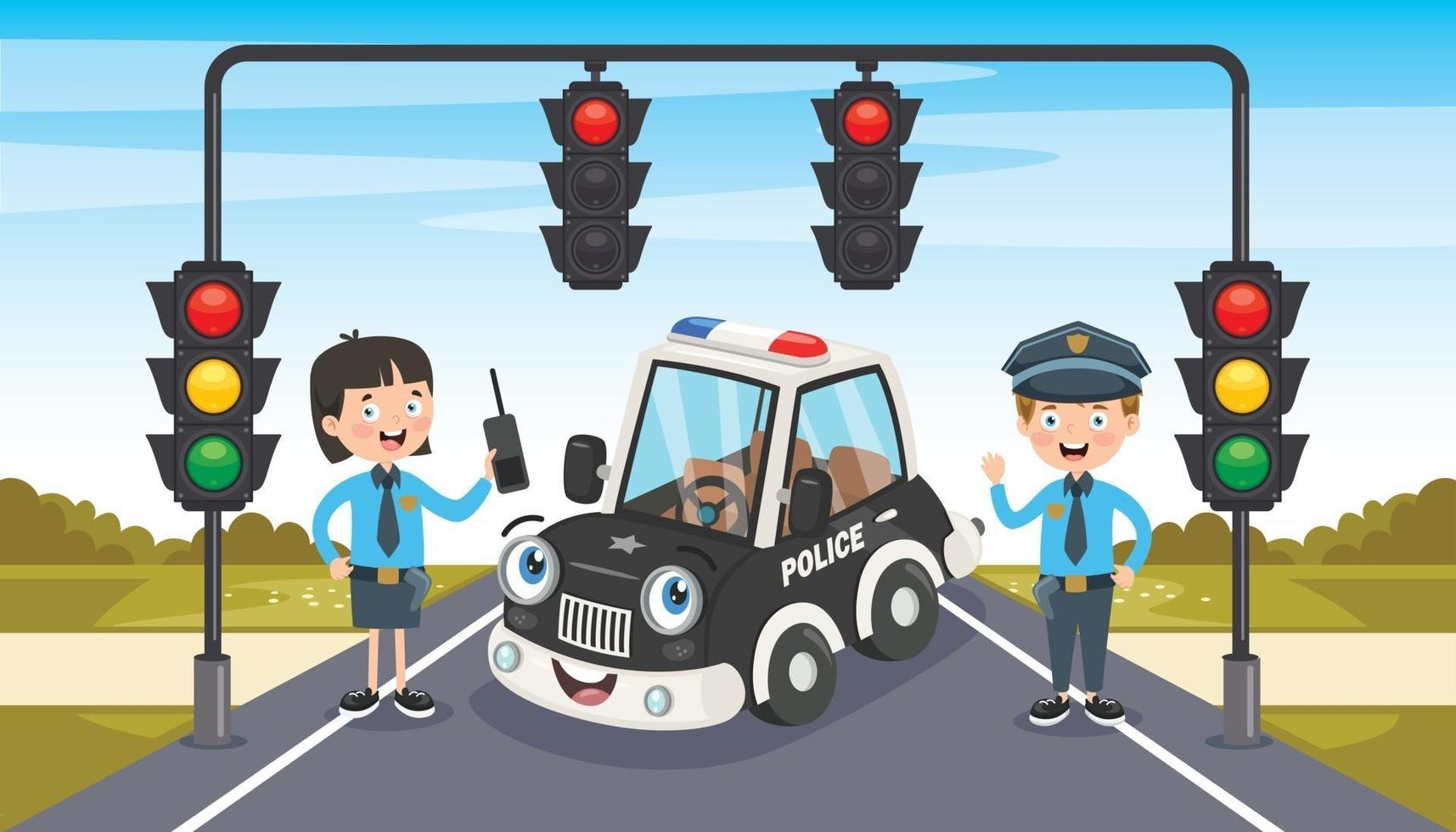 Polizisten posieren mit lustigem Auto vektor