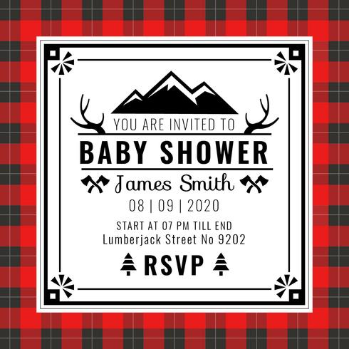 Babyparty-Einladungs-Büffel-Plaid-Art-Vektor vektor
