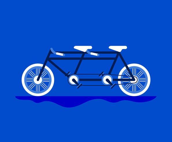 Tandem cykel illustration vektor