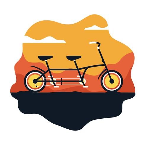 Tandem-Fahrrad-Vektor-Illustration vektor