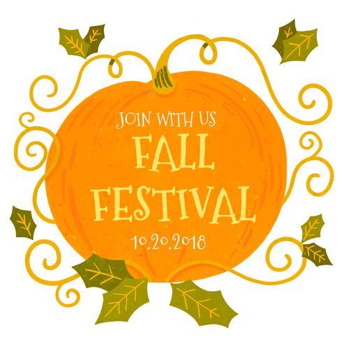 Gullig pumpa med löv att falla festival vektor