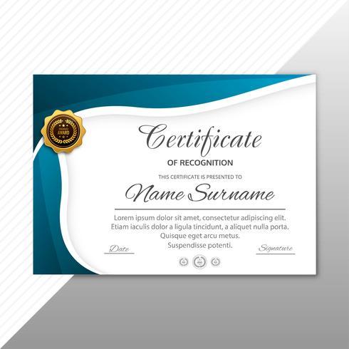 Abstrakte stilvolle Zertifikatdiplomschablone mit Wellendesign vektor