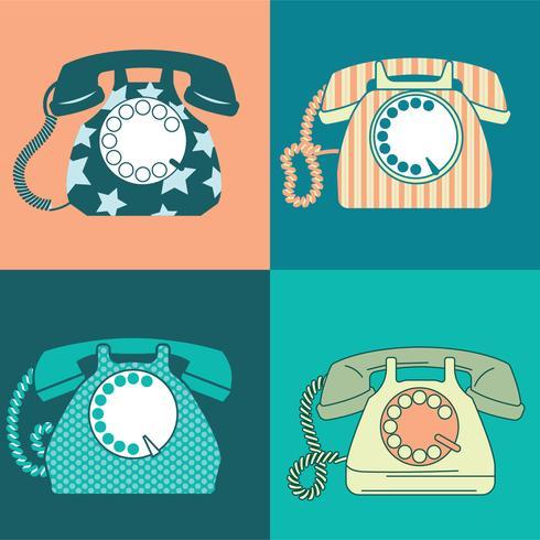 Set med gammal telefon med roterande ratt vektor