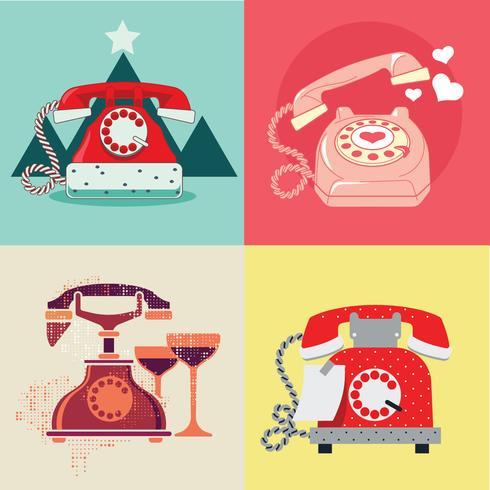 Set av roterande telefon med kärlek och romantik årstider vektor