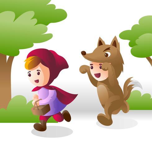 Kinder im Kostüm wenig rot vektor