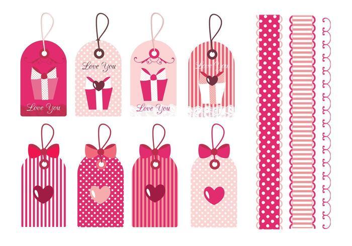 Valentinstag Tag & Border Vektor Pack