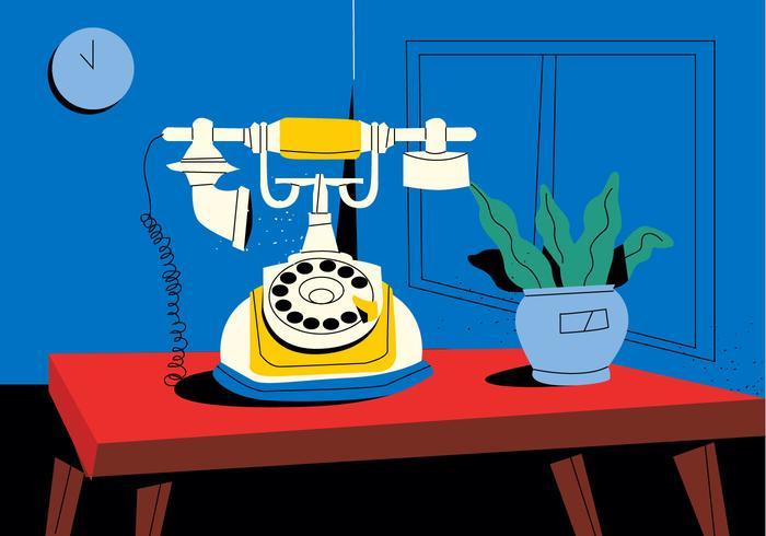 Vintage Rotary Telefon På Desk Vector Flat Illustration