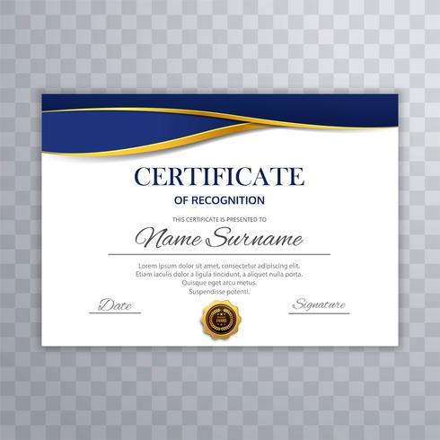 Abstrakt certifikatmall diplom med våg design vektor