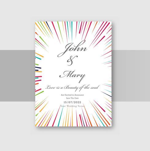 Hochzeitseinladungskarten mit bunten Kreislinien Hintergrund vektor
