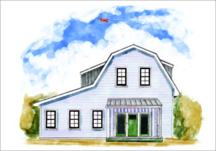 House Exteriör vattenfärg 2 vektor