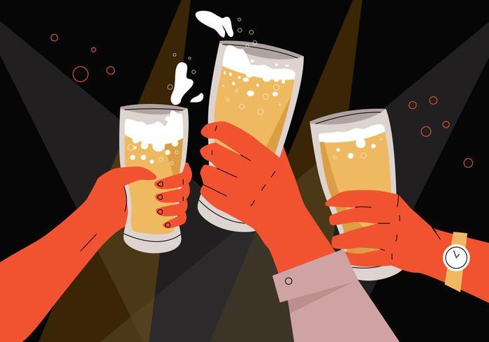 Bier-Beifall in den Büro-Parteien und Sammlung der Vektor-flachen Illustration vektor