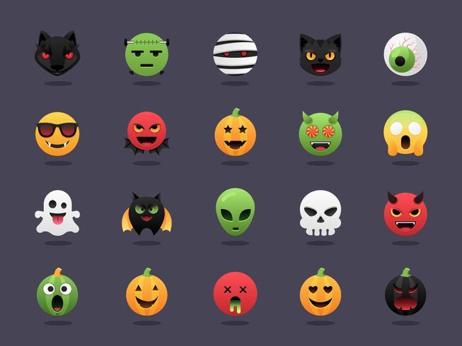 halloween emoji vektor uppsättning