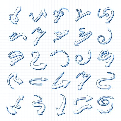 Vektor-Pfeil-Satz der Hand 3D gezeichnet vektor